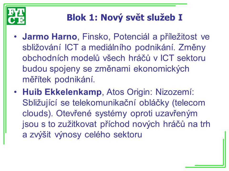 Blok 1: Nový svět služeb I