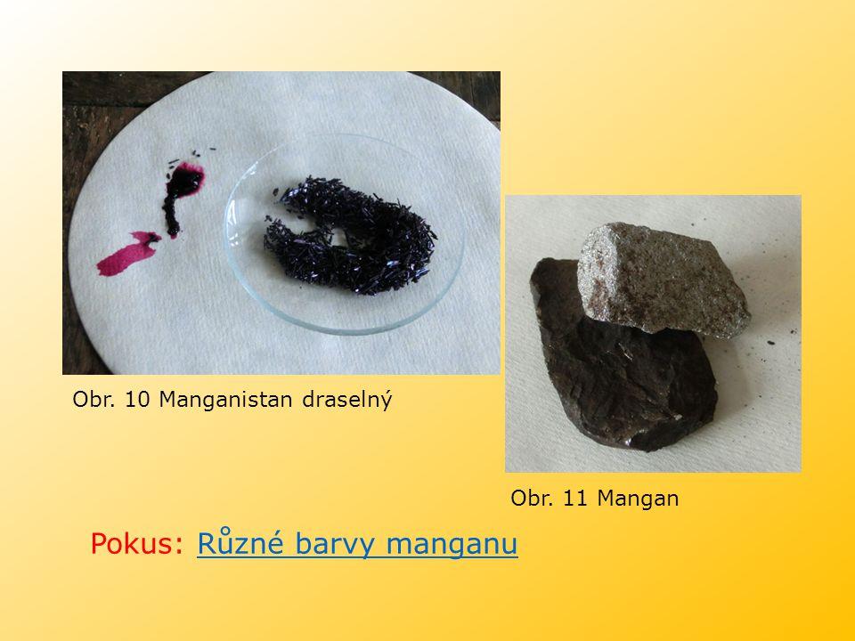 Pokus: Různé barvy manganu