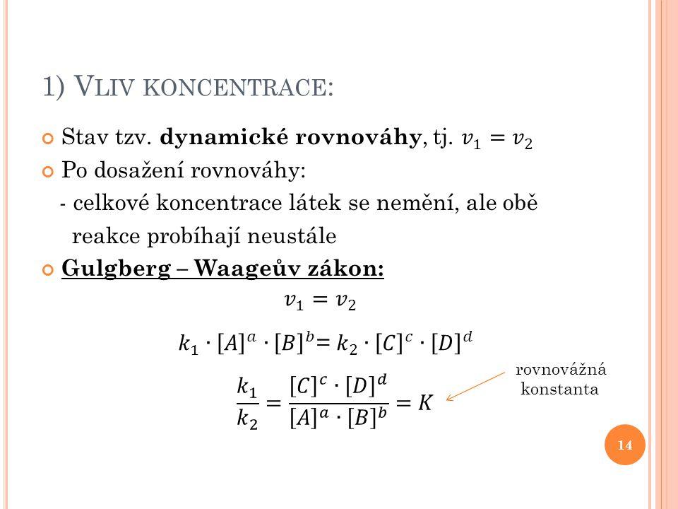 1) Vliv koncentrace: Stav tzv. dynamické rovnováhy, tj. 𝑣 1 = 𝑣 2