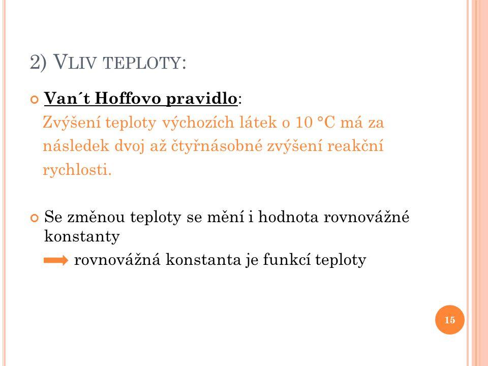 2) Vliv teploty: Van´t Hoffovo pravidlo: