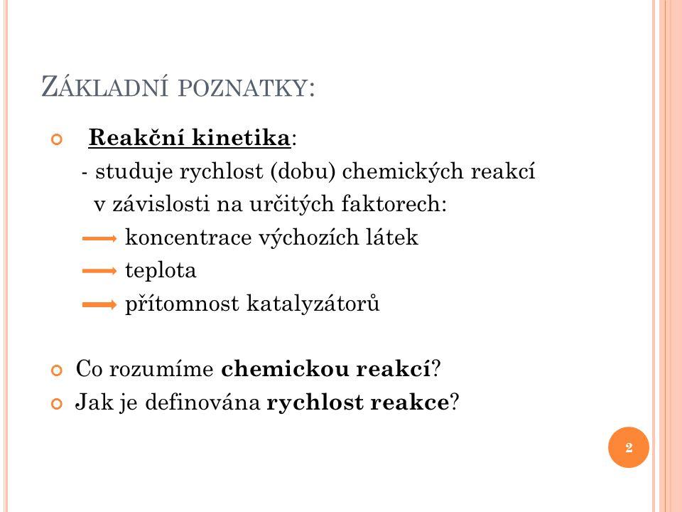 Základní poznatky: Reakční kinetika: