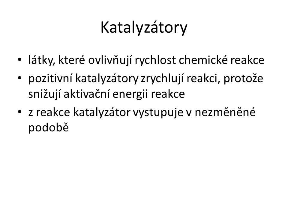 Katalyzátory látky, které ovlivňují rychlost chemické reakce