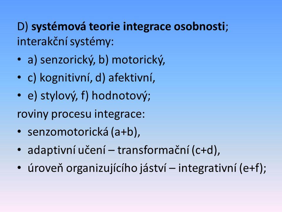 D) systémová teorie integrace osobnosti; interakční systémy: