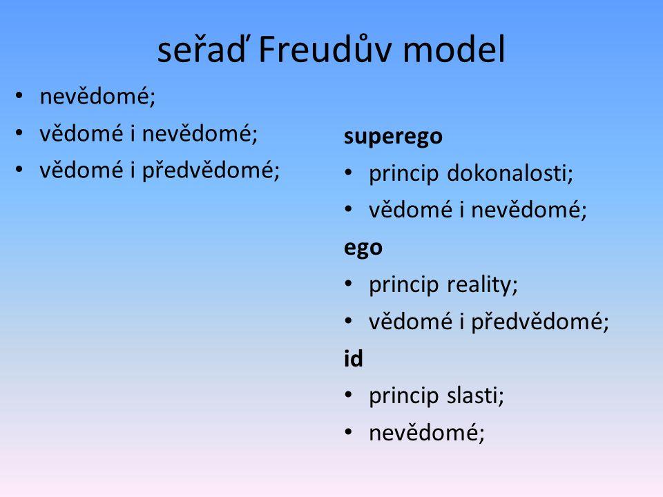seřaď Freudův model nevědomé; vědomé i nevědomé; vědomé i předvědomé;