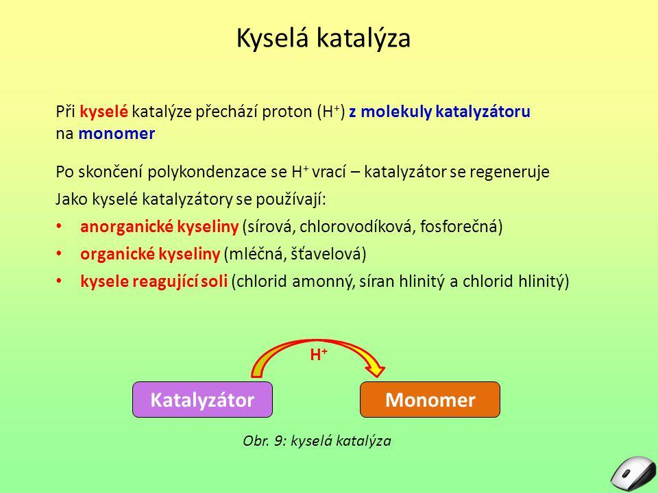 Kyselá katalýza Katalyzátor Monomer