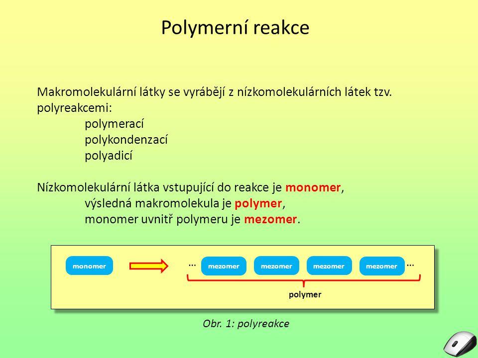 Polymerní reakce Makromolekulární látky se vyrábějí z nízkomolekulárních látek tzv. polyreakcemi: polymerací.