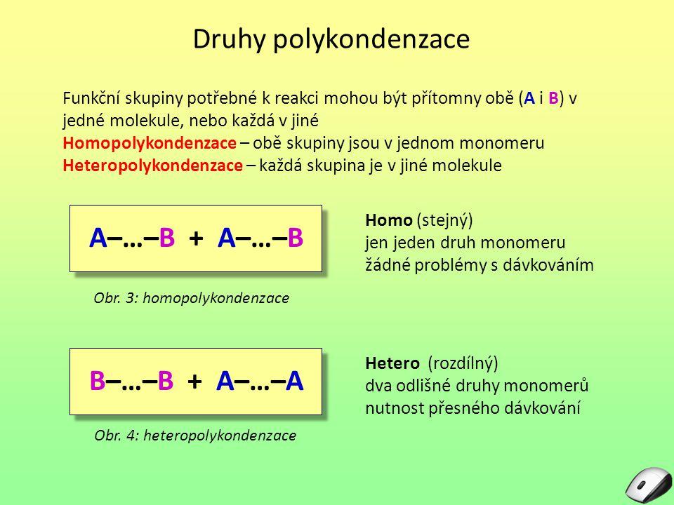 Druhy polykondenzace A–…–B + A–…–B B–…–B + A–…–A