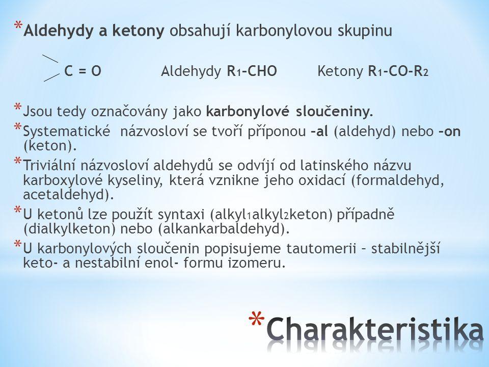 Charakteristika Aldehydy a ketony obsahují karbonylovou skupinu