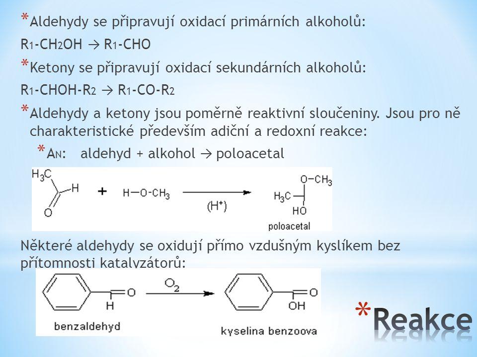 Reakce Aldehydy se připravují oxidací primárních alkoholů:
