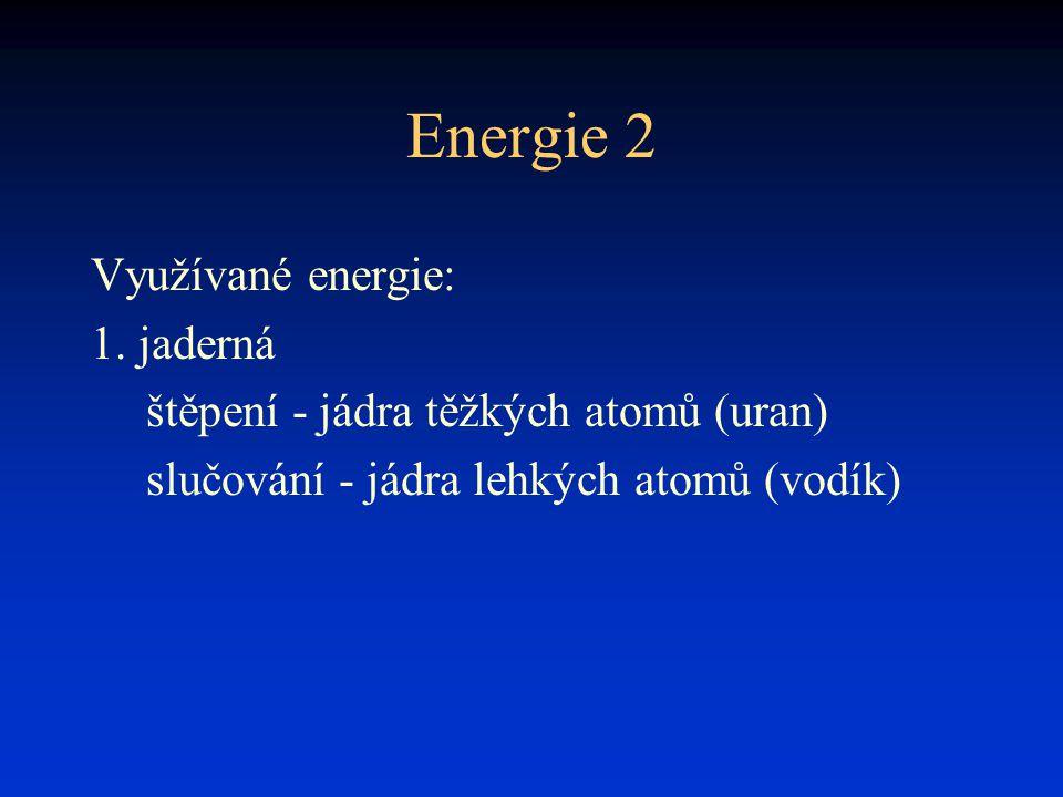 Energie 2 Využívané energie: 1. jaderná