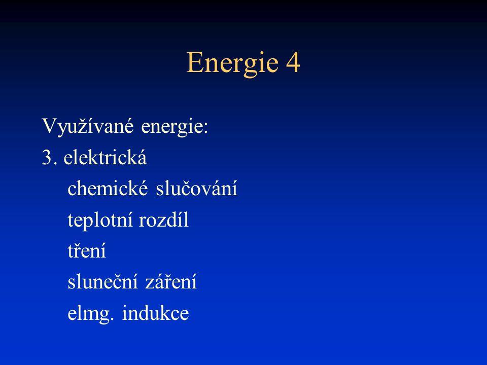 Energie 4 Využívané energie: 3. elektrická chemické slučování