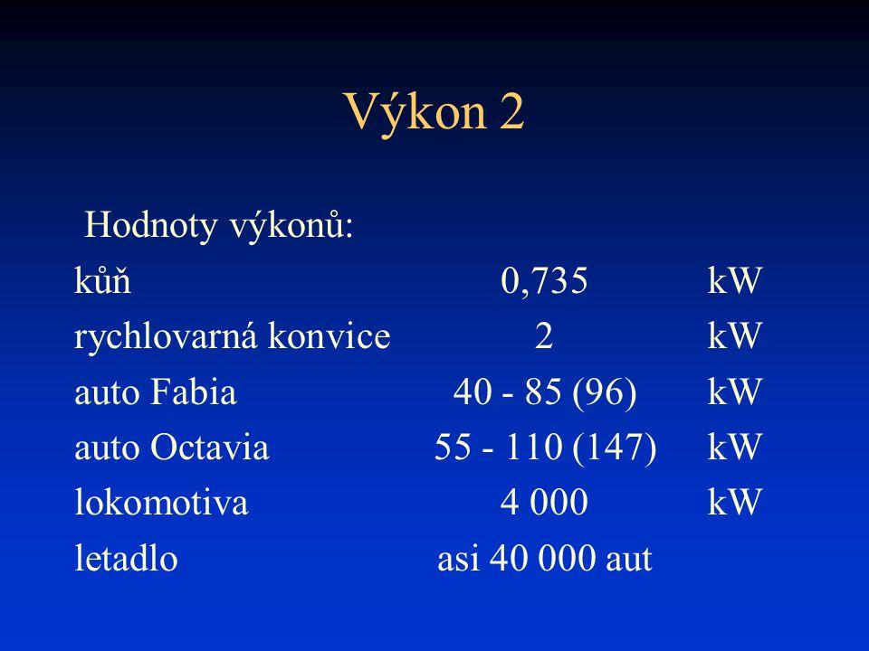 Výkon 2 Hodnoty výkonů: kůň 0,735 kW rychlovarná konvice 2 kW