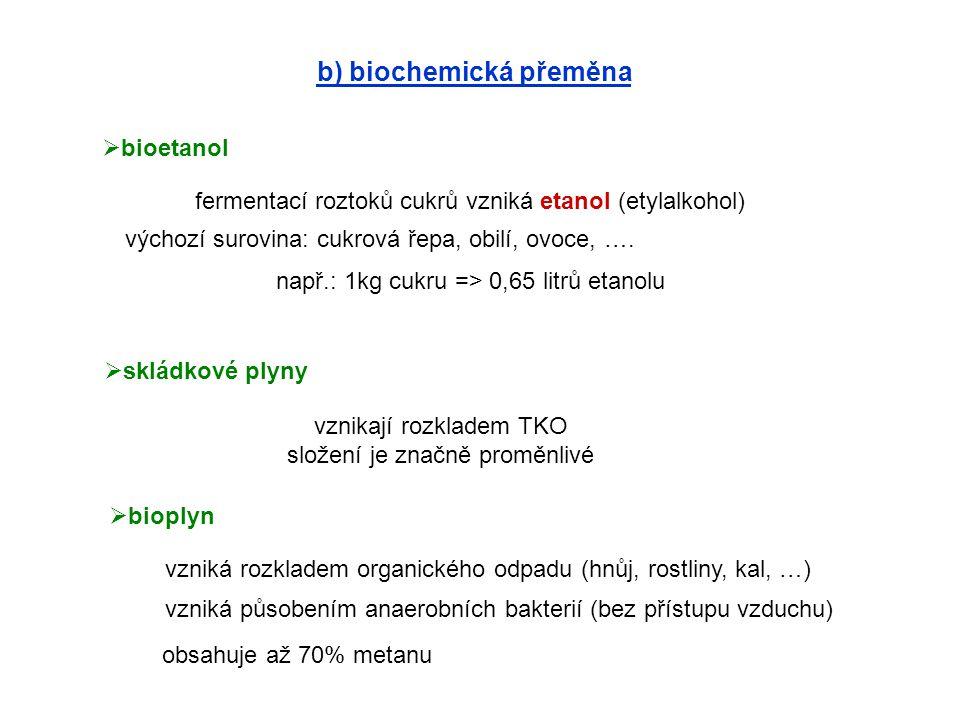 b) biochemická přeměna