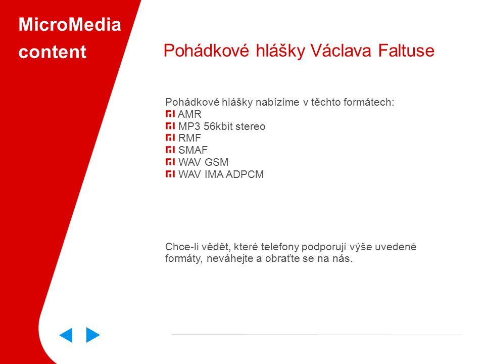 MicroMedia content Pohádkové hlášky Václava Faltuse