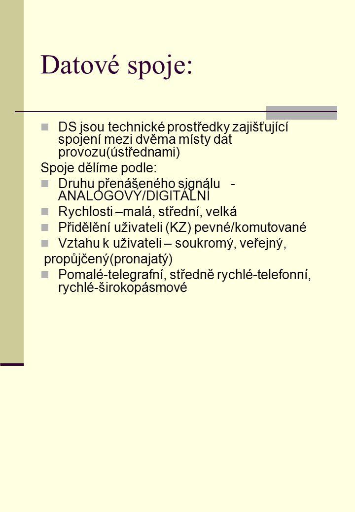 Datové spoje: DS jsou technické prostředky zajišťující spojení mezi dvěma místy dat provozu(ústřednami)