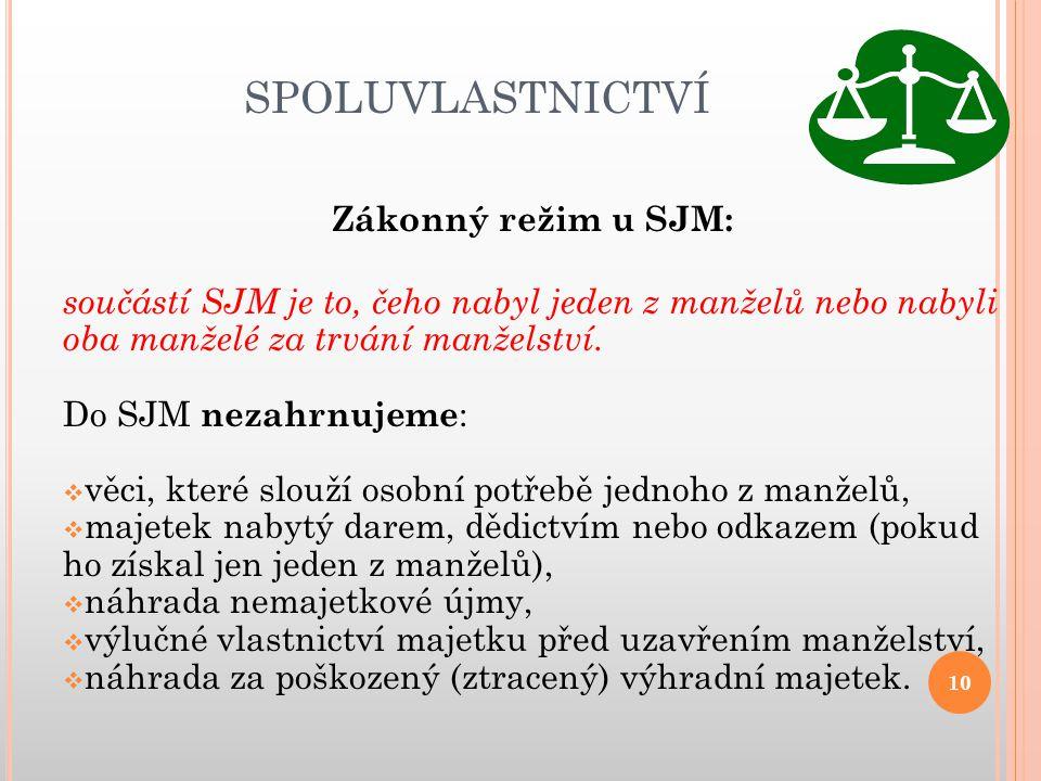 SPOLUVLASTNICTVÍ Zákonný režim u SJM:
