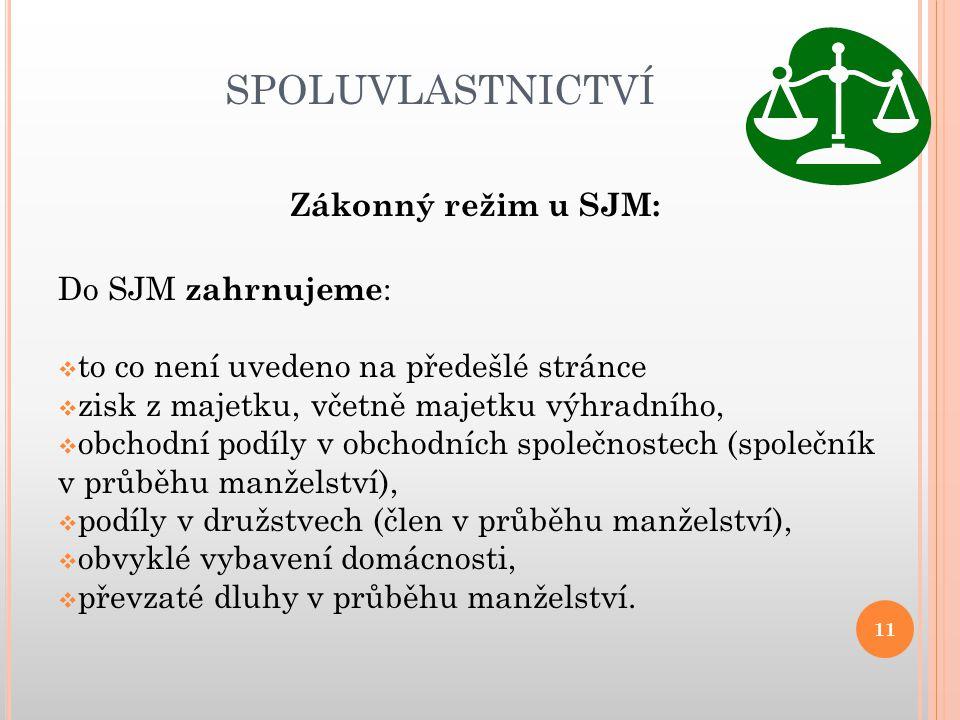 SPOLUVLASTNICTVÍ Zákonný režim u SJM: Do SJM zahrnujeme: