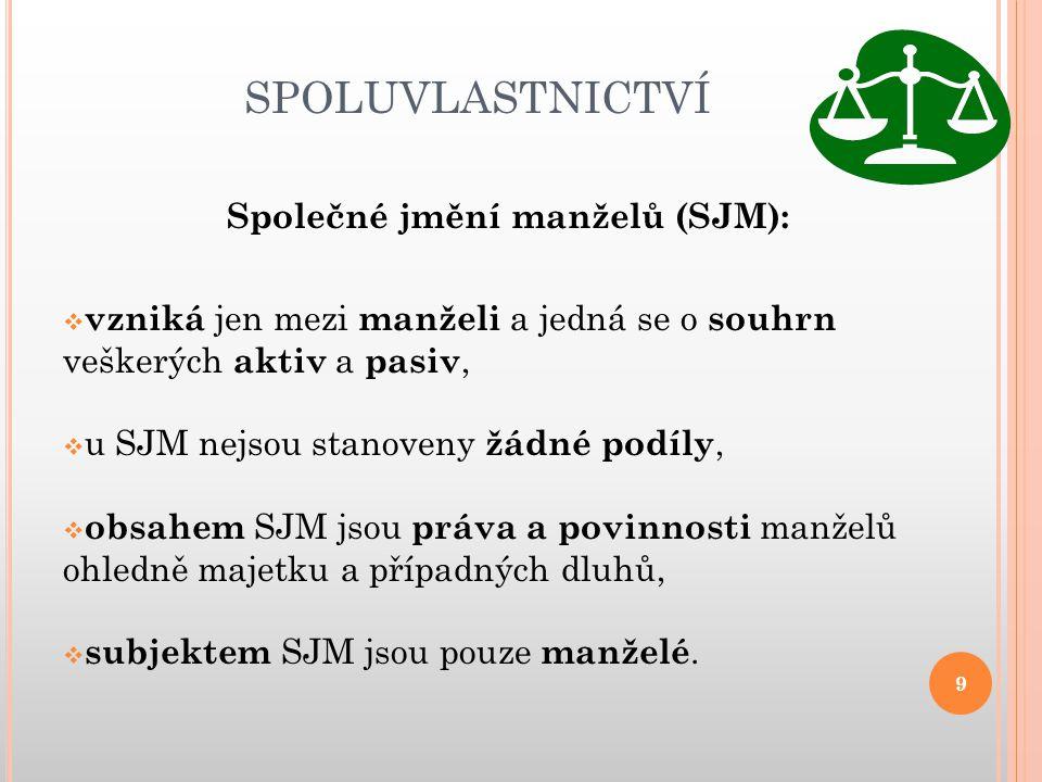 Společné jmění manželů (SJM):