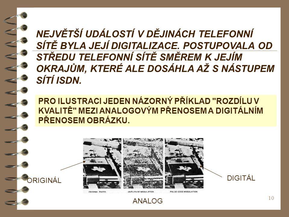 NEJVĚTŠÍ UDÁLOSTÍ V DĚJINÁCH TELEFONNÍ SÍTĚ BYLA JEJÍ DIGITALIZACE