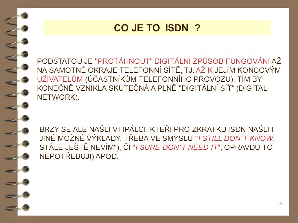 CO JE TO ISDN