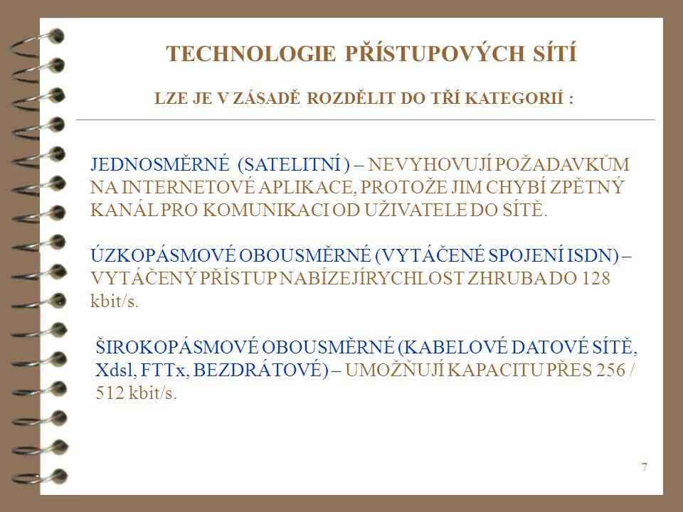 TECHNOLOGIE PŘÍSTUPOVÝCH SÍTÍ