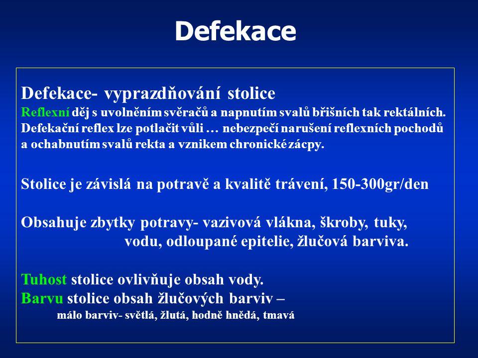 Defekace Defekace- vyprazdňování stolice
