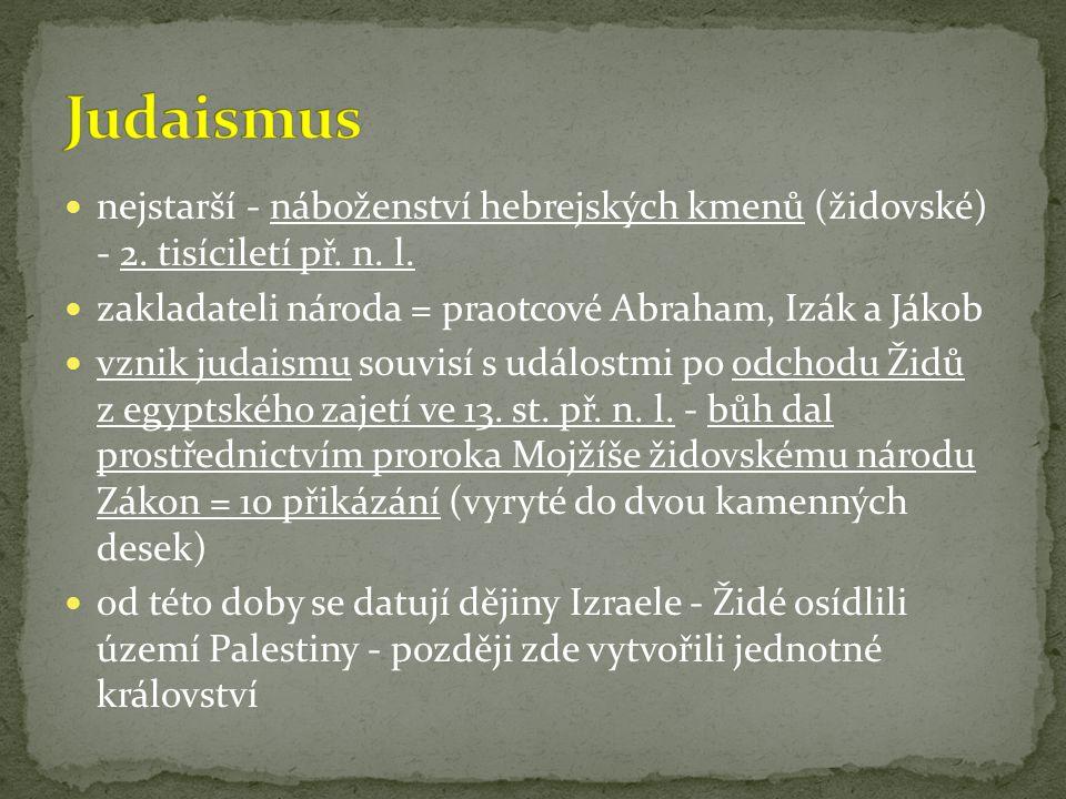 Judaismus nejstarší - náboženství hebrejských kmenů (židovské) - 2. tisíciletí př. n. l. zakladateli národa = praotcové Abraham, Izák a Jákob.