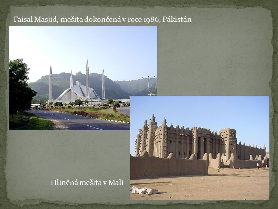Faisal Masjid, mešita dokončená v roce 1986, Pákistán