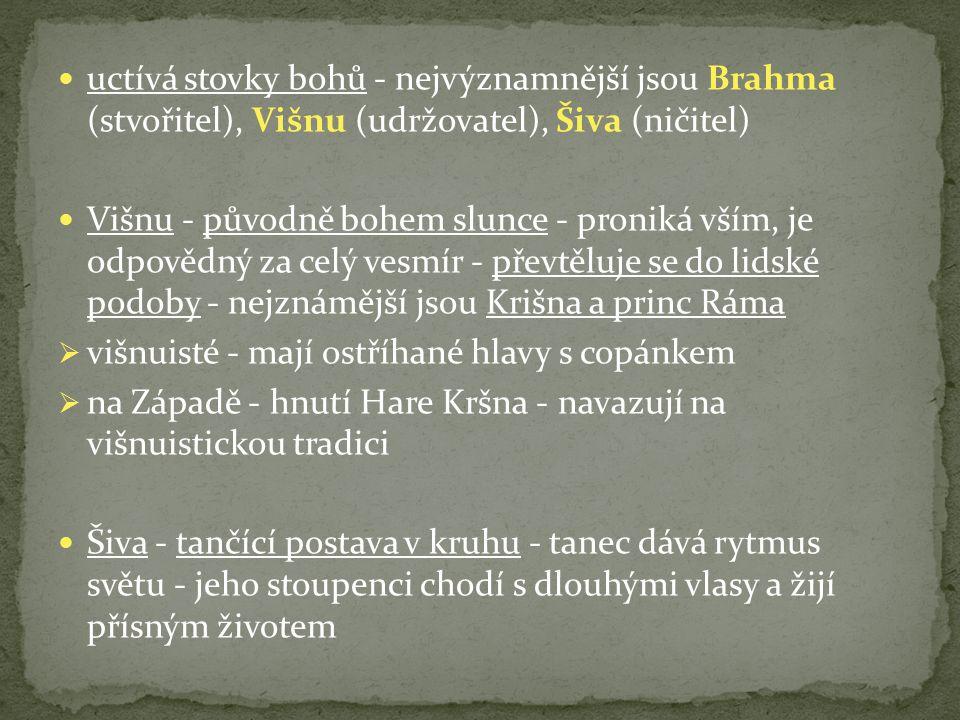 uctívá stovky bohů - nejvýznamnější jsou Brahma (stvořitel), Višnu (udržovatel), Šiva (ničitel)