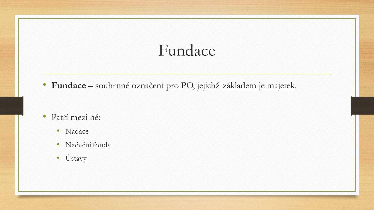 Fundace Fundace – souhrnné označení pro PO, jejichž základem je majetek. Patří mezi ně: Nadace. Nadační fondy.