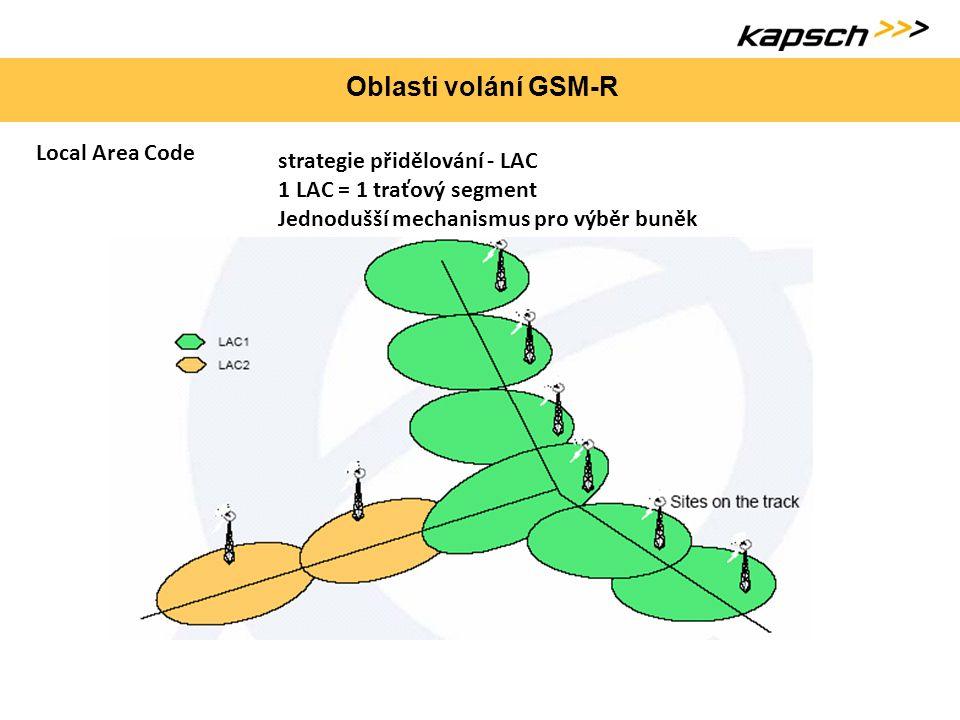 Oblasti volání GSM-R Local Area Code strategie přidělování - LAC