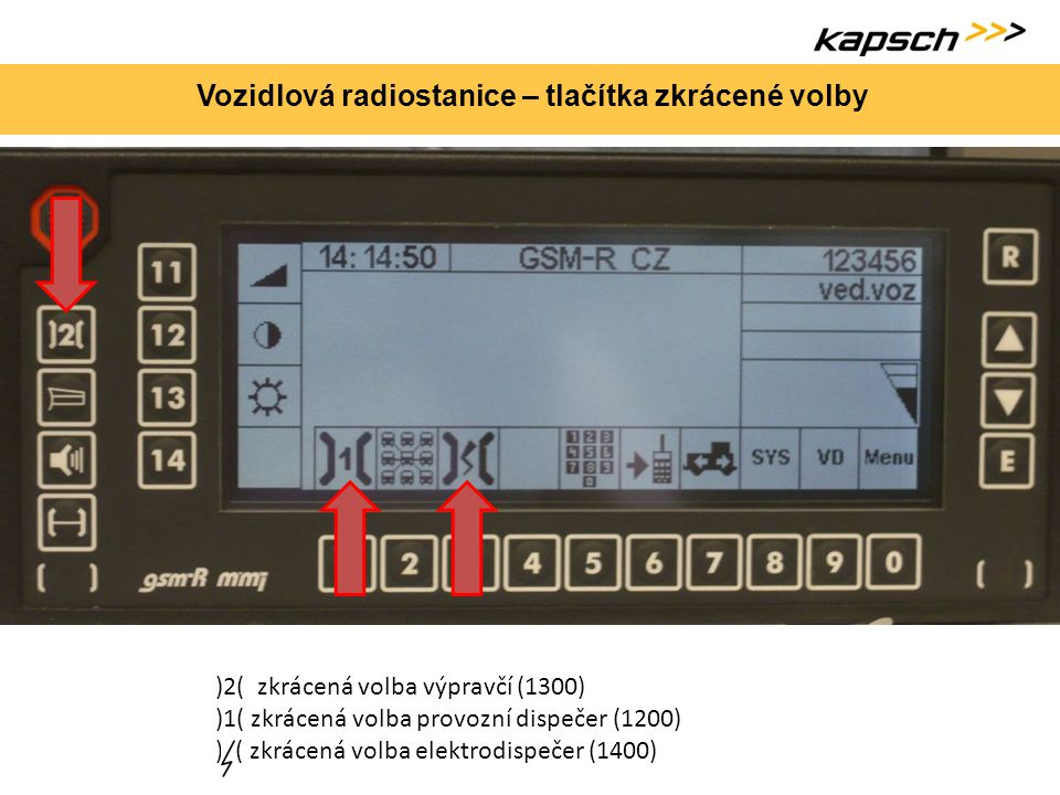Vozidlová radiostanice – tlačítka zkrácené volby