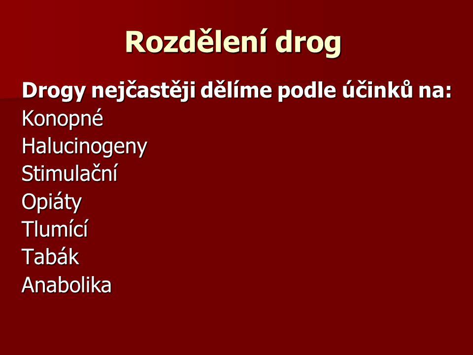 Rozdělení drog Drogy nejčastěji dělíme podle účinků na: Konopné