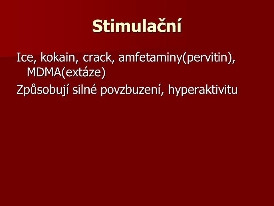 Stimulační Ice, kokain, crack, amfetaminy(pervitin), MDMA(extáze)