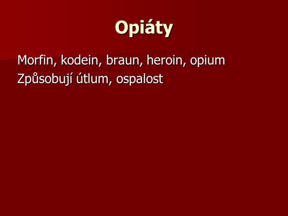 Opiáty Morfin, kodein, braun, heroin, opium Způsobují útlum, ospalost