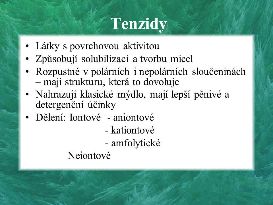 Tenzidy Látky s povrchovou aktivitou