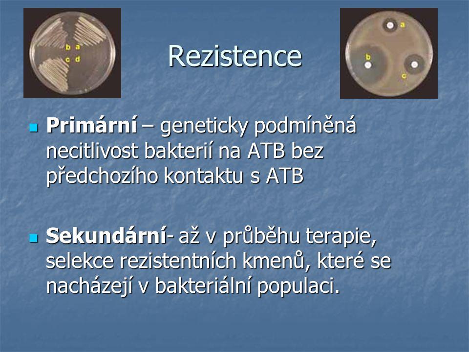 Rezistence Primární – geneticky podmíněná necitlivost bakterií na ATB bez předchozího kontaktu s ATB.