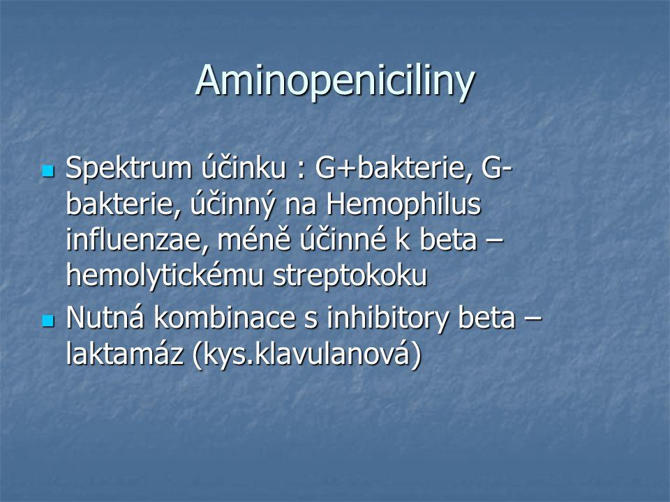 Aminopeniciliny Spektrum účinku : G+bakterie, G- bakterie, účinný na Hemophilus influenzae, méně účinné k beta – hemolytickému streptokoku.