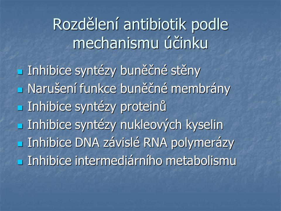 Rozdělení antibiotik podle mechanismu účinku