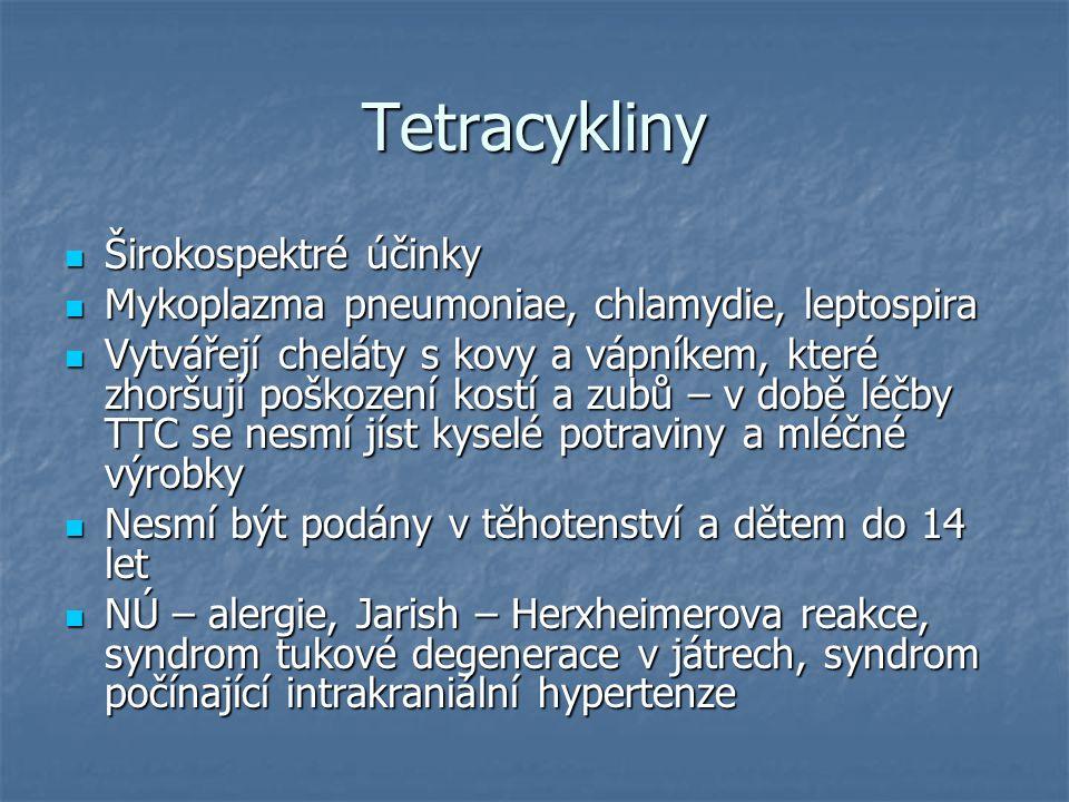 Tetracykliny Širokospektré účinky