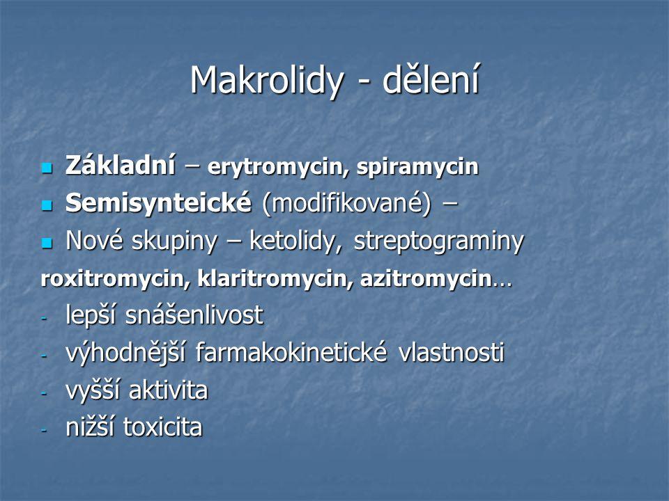 Makrolidy - dělení Základní – erytromycin, spiramycin