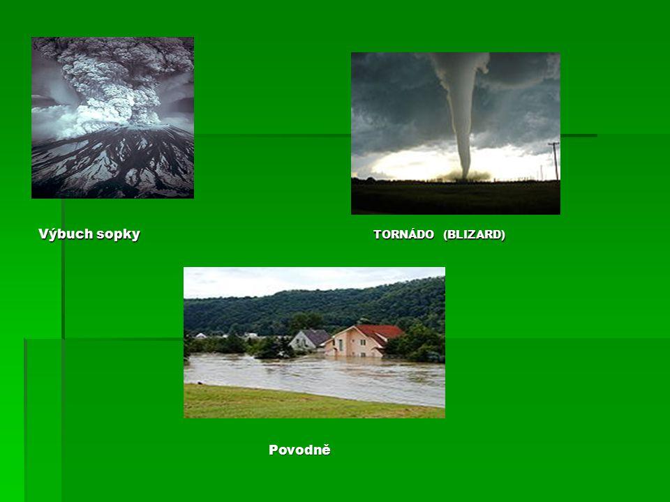Výbuch sopky Tornádo (Blizard) Povodně