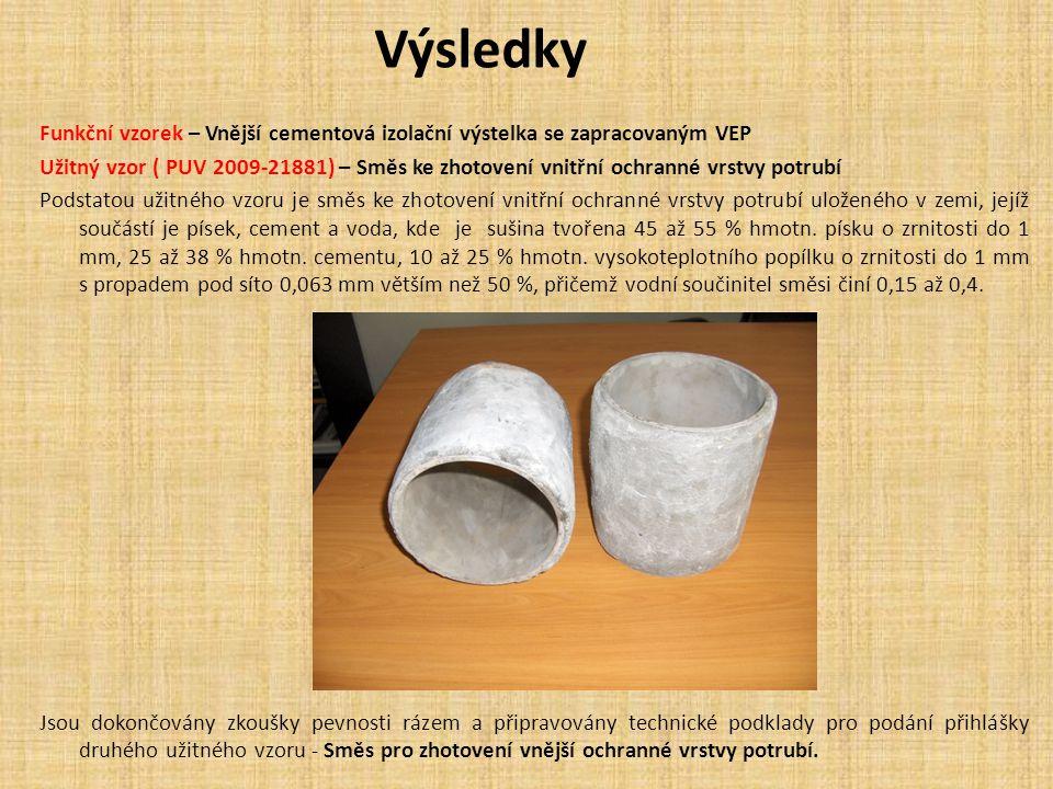 Výsledky Funkční vzorek – Vnější cementová izolační výstelka se zapracovaným VEP.