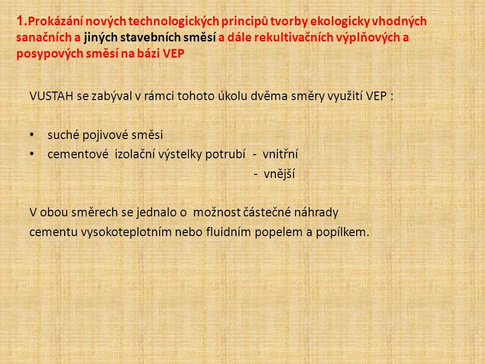 1.Prokázání nových technologických principů tvorby ekologicky vhodných sanačních a jiných stavebních směsí a dále rekultivačních výplňových a posypových směsí na bázi VEP