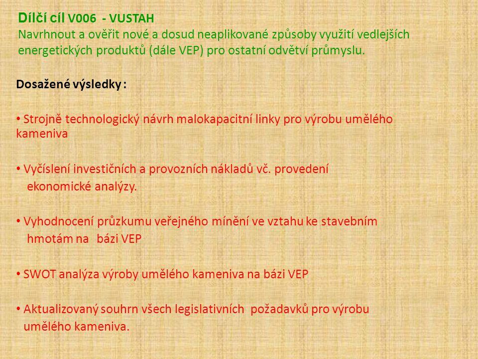 Dílčí cíl V006 - VUSTAH Navrhnout a ověřit nové a dosud neaplikované způsoby využití vedlejších energetických produktů (dále VEP) pro ostatní odvětví průmyslu.