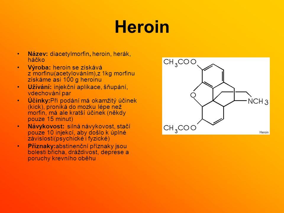Heroin Název: diacetylmorfin, heroin, herák, háčko