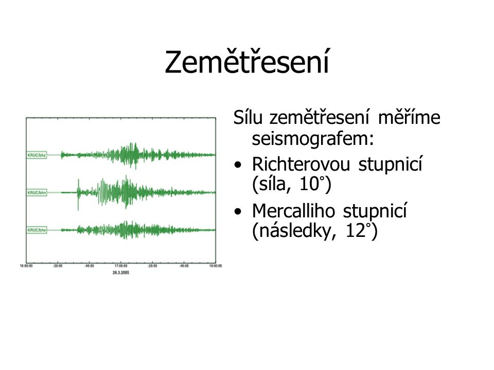 Zemětřesení Sílu zemětřesení měříme seismografem: