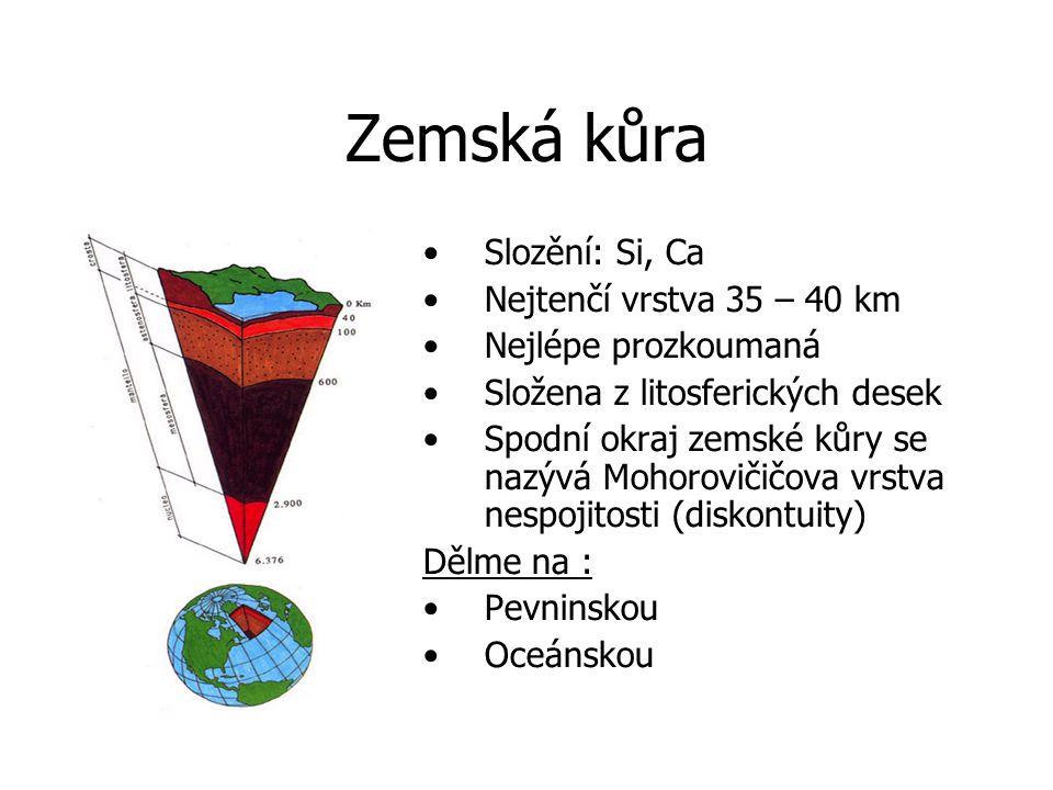 Zemská kůra Slozění: Si, Ca Nejtenčí vrstva 35 – 40 km