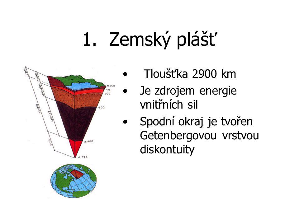 Zemský plášť Tloušťka 2900 km Je zdrojem energie vnitřních sil