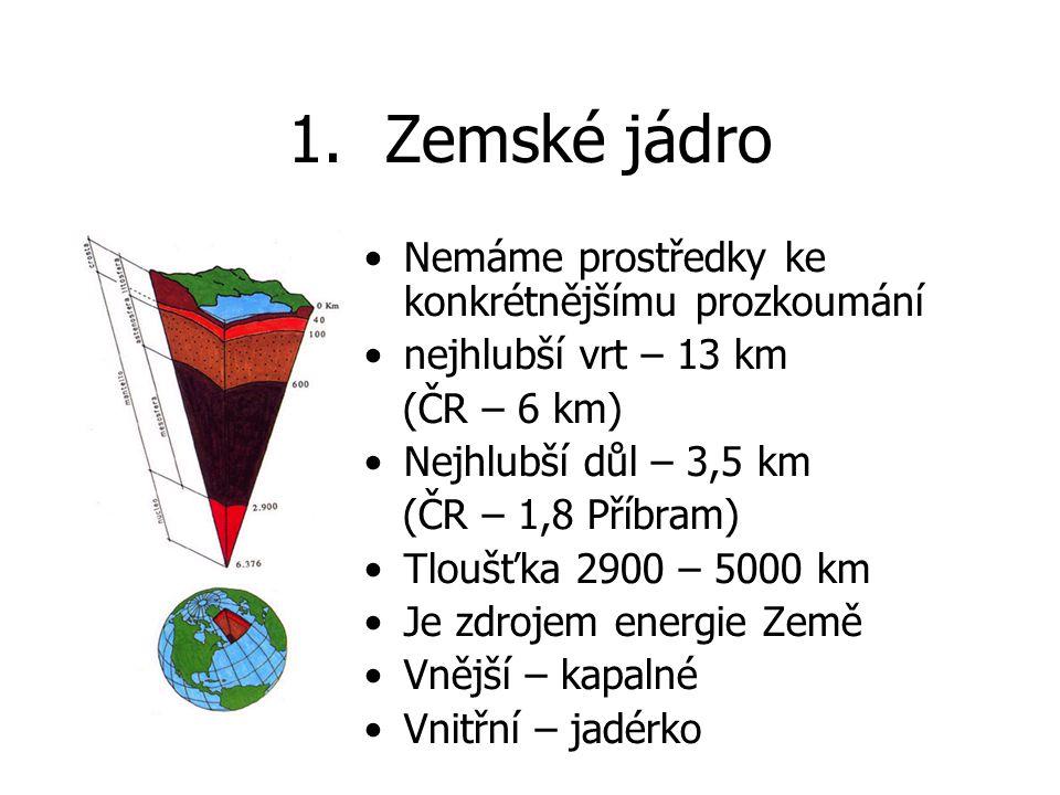 Zemské jádro Nemáme prostředky ke konkrétnějšímu prozkoumání